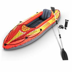 1-Person Inflatable Canoe Boat Kayak Set W/ Aluminum Alloy O