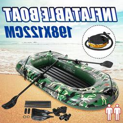 2 Person Fishing Boat Inflatable Rowing Blow Up Canoe Kayak