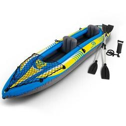 2-Person Inflatable Canoe Boat Kayak Set with Oar and Hand P