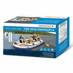 Pathfinder 4 Person Inflatable River Raft Boat, Pump, 2 Oars