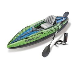 Intex Challenger K1 Inflatable 1-Person Kayak Set With Oars