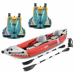Intex Excursion Pro 2 Person Inflatable Kayak Set w/ 2 Moxie