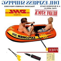 INTEX Explorer 200 Inflatable Swimming Fishing Boat + Paddle
