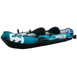 Inflatable 2 person 10' Fishing Kayak w Paddle Package Angle
