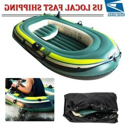 Inflatable 3 Person Floating Boat Raft Set with 1 Pair of Ro