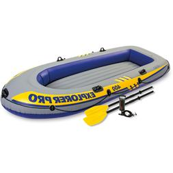 Inflatable Explorer Pro 400 Four-Person Boat with Oars and P