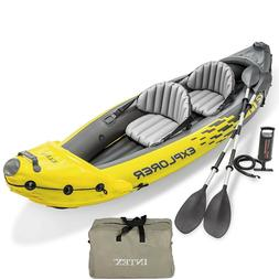 Inflatable Kayak Set 2-Person Paddle Boat w/ Aluminum Oars H