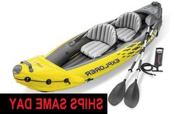 Intex K2 Explorer 2 Person Inflatable Kayak W/ Oars, Pump, a