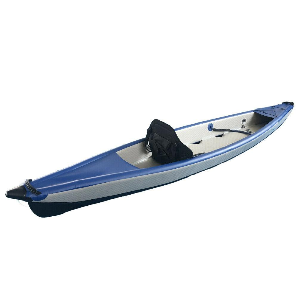 BRIS 13Ft Stitch Inflatable Canoe One Person
