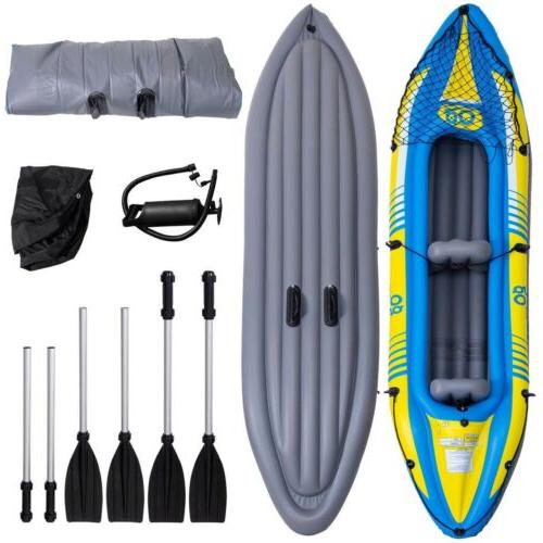 2-Person Inflatable Canoe Boat Kayak Set with and Hand Pump Seat