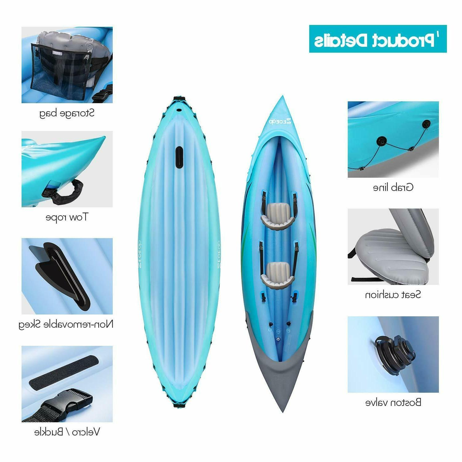 2-Person Inflatable Kayak Set with & Output Foot