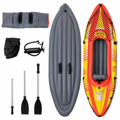 9ft Goplus 1-Person Canoe W/ Pump Paddle Sport