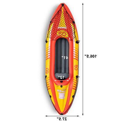 9ft 1-Person Canoe Boat Set W/ Paddle Water