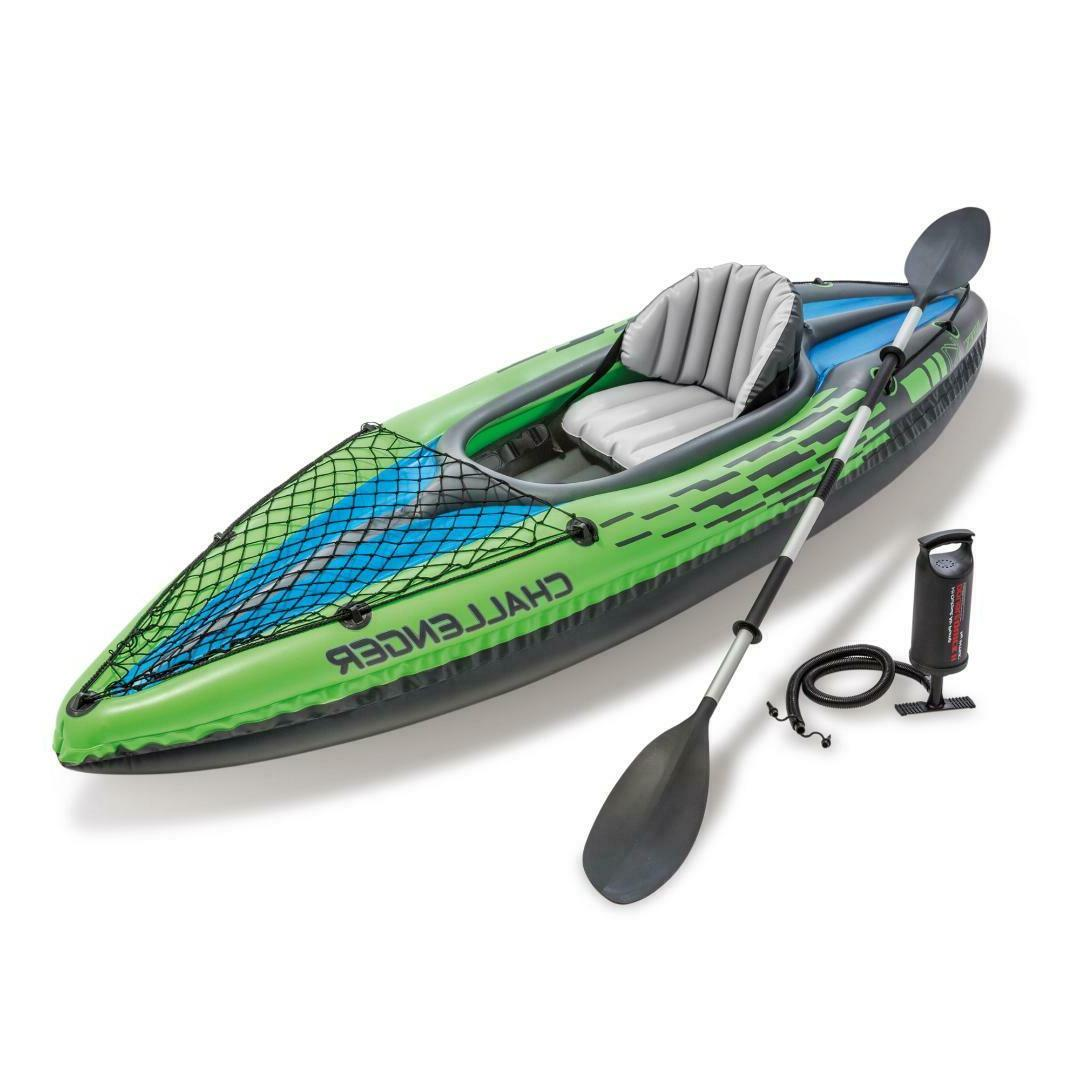 Intex Challenger K1 Inflatable Kayak with Aluminum and Hand low profile