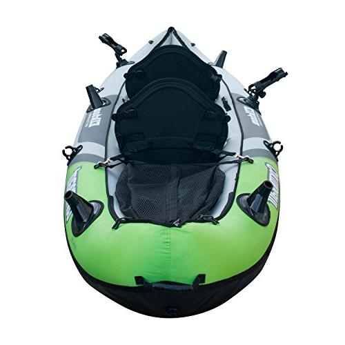 Elkton Outdoors Person Inflatable Kayak, Padded Seats, Includes Active Fishing Rod Mounts, 2 Paddles, Double More