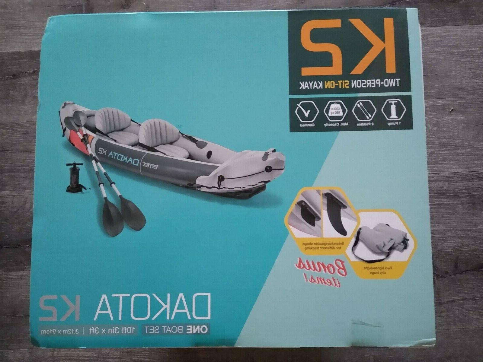Intex Dakota K2 Person Inflatable Kayak with Oars and Pump NEW IN