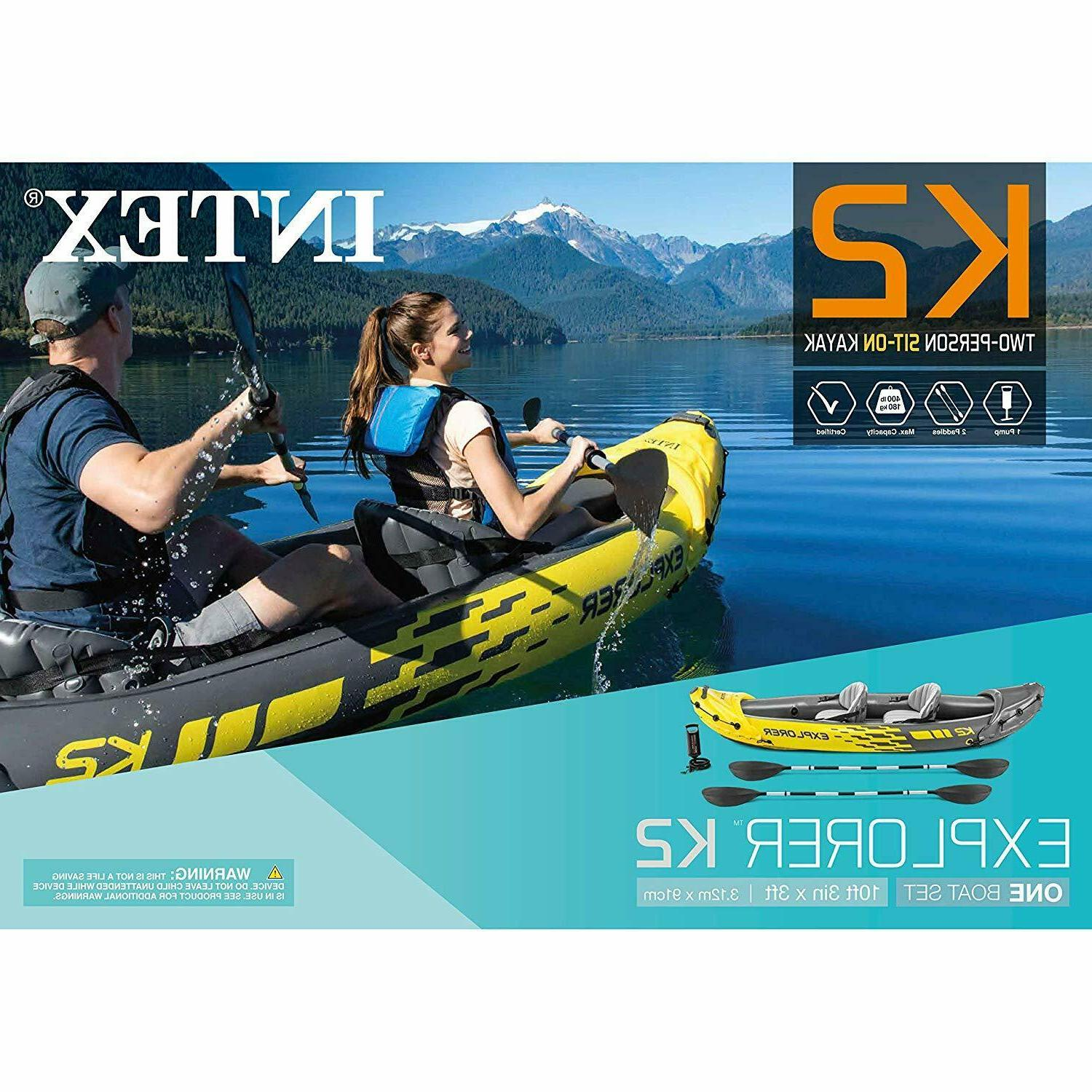KAYAK K2 INTEX EXPLORER 2PERSON INFLATABLE KAYAK SET WITH AL