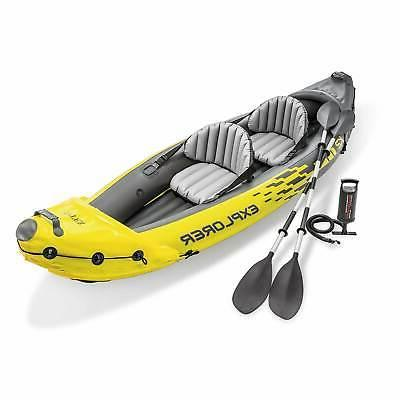 Intex Explorer K2 Kayak 2-Person Inflatable Set with Oars an