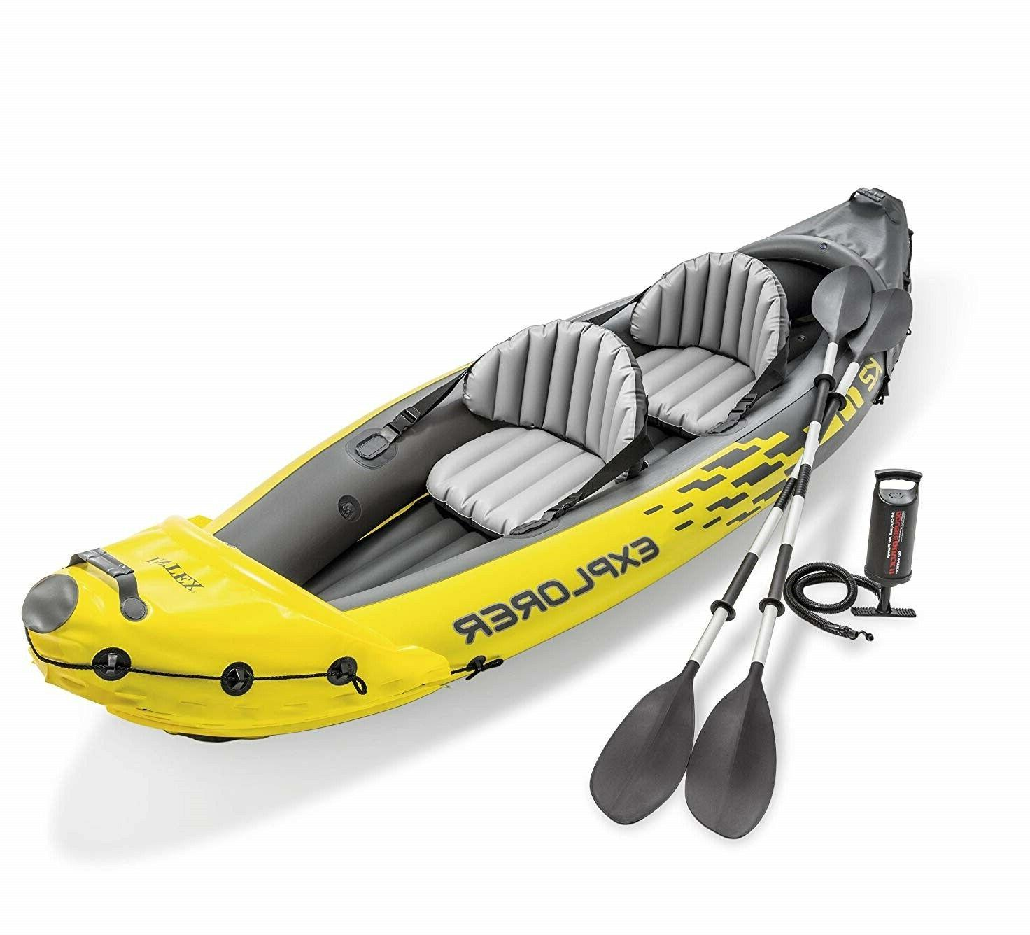 explorer k2 yellow 2 person inflatable kayak