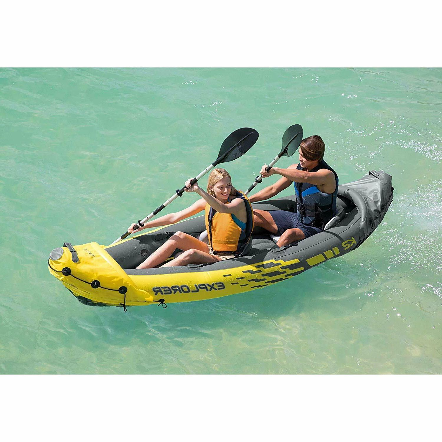Fishing Kayak 2 Person Inflatable Boat with Aluminum Oars an