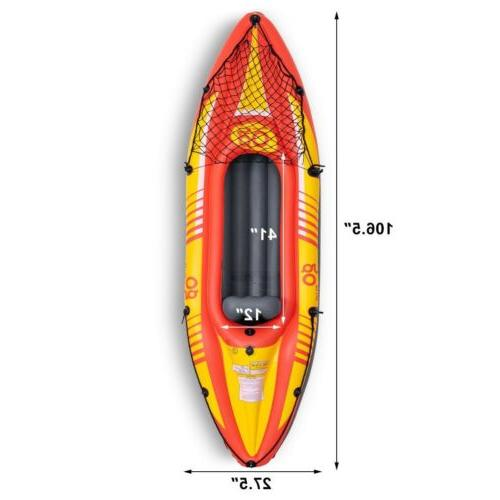 1-Person Inflatable Canoe Kayak Set Oar and Pump Seat