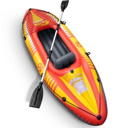 1 person inflatable canoe boat kayak set