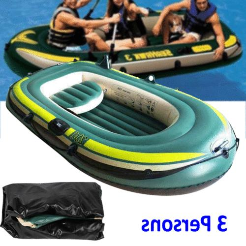 Inflatable Kayak Canoe Three Person Rowing Air Boat Fishing