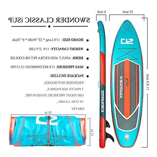 Swonder Inflatable Stand Up Paddle Durable Long Thick, Paddle |Backpack | Pump Paddling &