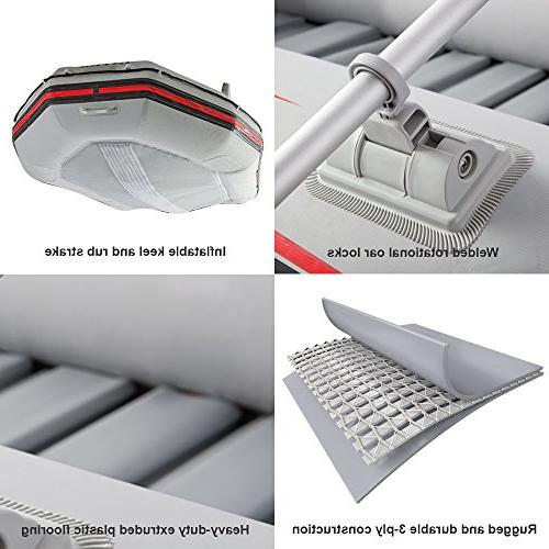 Intex Inflatable Boat Set Aluminum Oars and Output Air