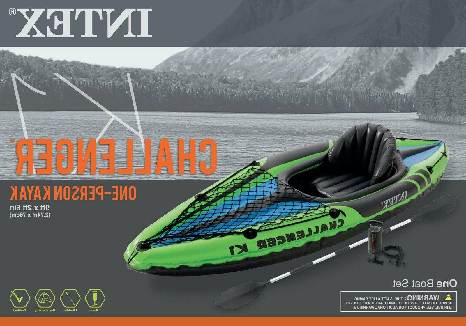 NEW Inflatable Kayak Set w/ Air Paddle Oar