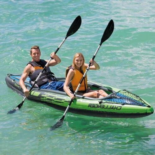 NEW Intex Challenger K2 Inflatable Kayak Set w/ Oars & Air P