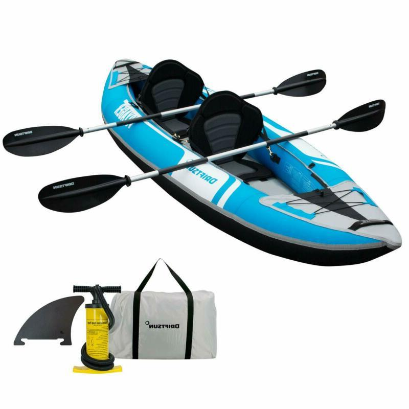 Driftsun Voyager 2 Person Tandem Inflatable Kayak, Includes