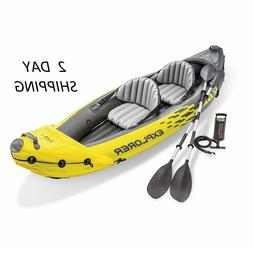 Ocean River Lake 2 Persons Inflatable Boat Kayak Canoe Set W