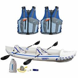 Sea Eagle Pro 3 Person Inflatable Kayak, Paddles, and 2 Refl