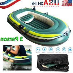 PVC 3 Person Inflatable Kayak Canoe Rowing Air Boat Fishing