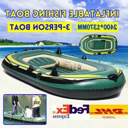 PVC Inflatable 3 Person Boat Fishing Boat Kayak Canoe Rowing
