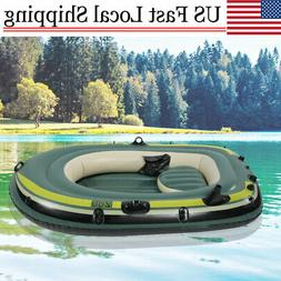 pvc inflatable kayak canoe three person rowing