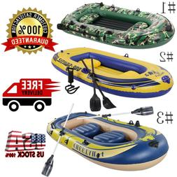 4 Person Inflatable Kayak PVC Rowing Air Boat Double Valve D