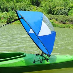 RENHAIGY Tandem Clear Kayak Wind Sail Kit Downwind Paddle Po